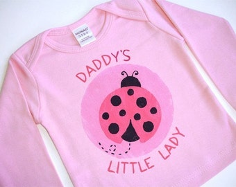 Daddy or Mommy's Little Ladybug Pink Long Sleeve Lap-T for Girl