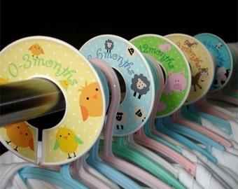Baby Closet Dividers Organizer Clothing Dividers - Funny Farm Animals