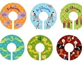 Size 0-6 Closet Clothing Dividers - Set of 10 Zoo Animal Dividers