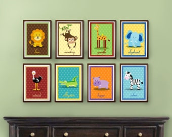 Set of 8 Safari Zoo Jungle Animal Prints - 4x6, 5x7, 8x10
