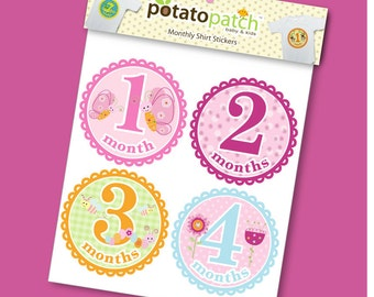 Monthly Baby Stickers for Shirts - Sunshine Garden for Girls
