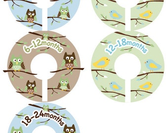 Baby Closet Dividers - Boy Birds and Owls Clothing Organizer Size Dividers