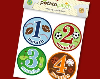 Shirt Stickers - Sports Baby Monthly  Shirt Stickers for Boys