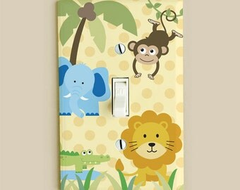 Light Switch Cover Plate - Safari Jungle Zoo Animals for Boys and Girls