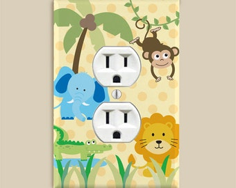 Outlet Cover Plate - Safari Jungle Zoo Animals for Boys and Girls