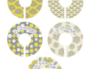 Baby Closet Organizer Clothing Dividers - Modern Yellow and Grey