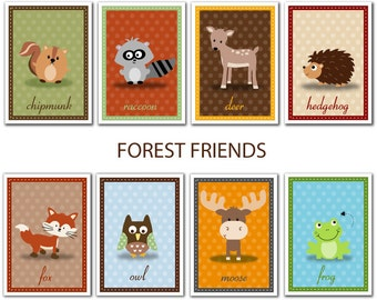 Set of 8 Forest Friends Animal Prints - 4x6, 5x7 or 8x10
