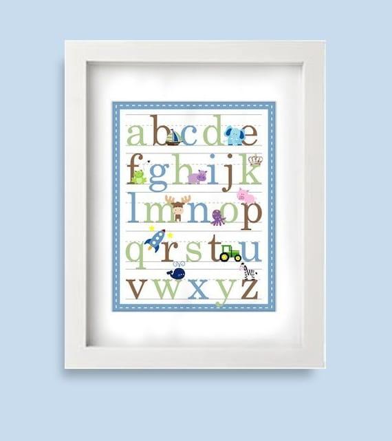 11x14 Alphabet Poster for Boys -Blue Sage Brown