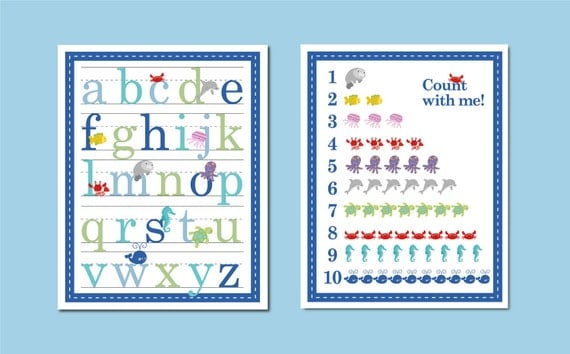 11x14 Ocean Sealife Alphabet and Number Counting Poster