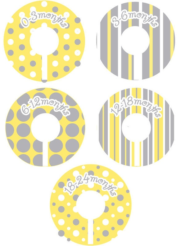 Baby Closet Organizer Clothing Dividers - Modern Dots and Stripes Yellow and Grey