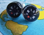 Where Are YOU - Tiny Compass Earrings - Micro Black