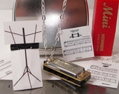 Mini Working Harmonica Necklace with Tiny Music Stand and Ity Bity Sheet Music