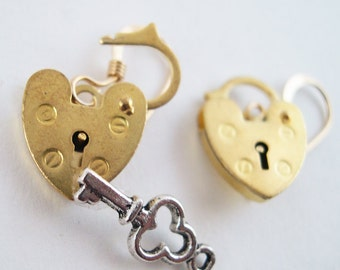 Mini Gold Opening Padlock Earrings - Unlock My Heart