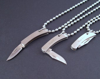 REAL Working Sharp Tiny Folding Knife Necklace - YOU Are Sooo Sharp