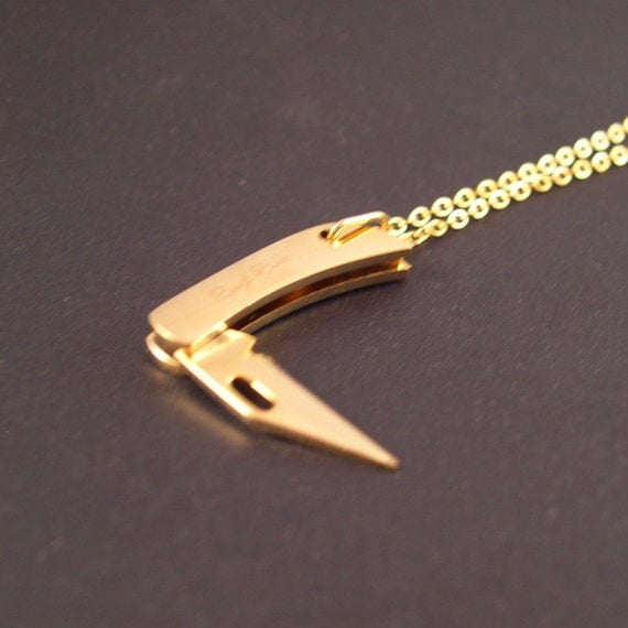 REAL Working Golden Tiny Folding Knife Necklace - YOU Are Sooo Sharp