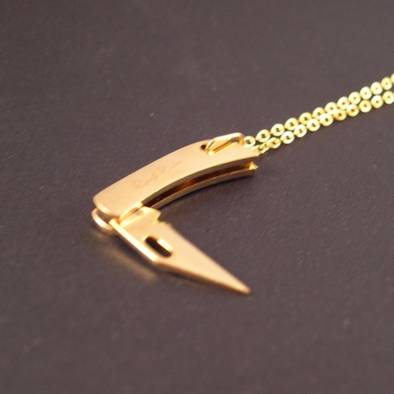 Awesome Real Working Golden Tiny Folding Knife Necklace You Are Sooo Largest Home Design Picture Inspirations Pitcheantrous