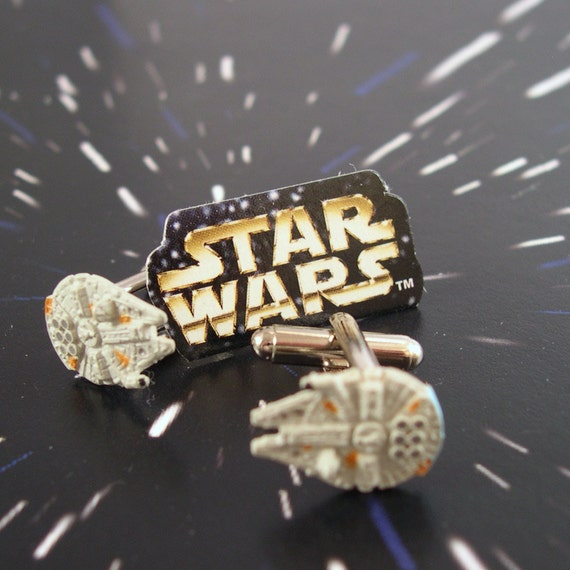 Star Wars Cufflinks - Tiny Millennium Falcon Toys from the Trilogy Era