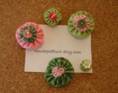 Bulletin Board Baubles. Pretty Push Pins. Fresh Flowers. Set A.