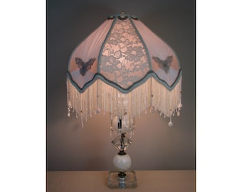 Vintage Table Lamp with Victorian Lamp Shade - Scarlett  0405