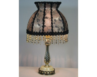 Vintage Table Lamp with Victorian Lamp Shade - The Letter from Paris  0415