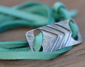 Chevron: Colorful Leather and Sterling Silver Wrap Bracelet