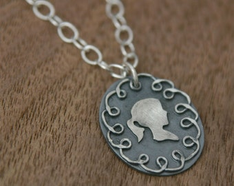 Doodle Silhouette Necklace, custom made cameo in sterling silver