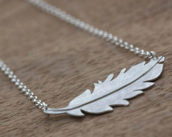 Feather Necklace, Hand Cut Sterling Silver with wire detail