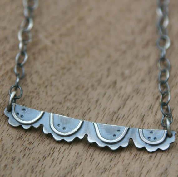 Little Lace Necklace, oxidized silver with wire detail