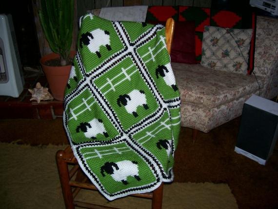 Sheep in a Meadow Tunisian Crochet Pattern .PDF