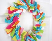 Rainbow Ribbon Wreath. Bright Yellow, Green, Blue, and Pink.