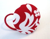 SUMMER SALE Red and White. XL Ponytail Button