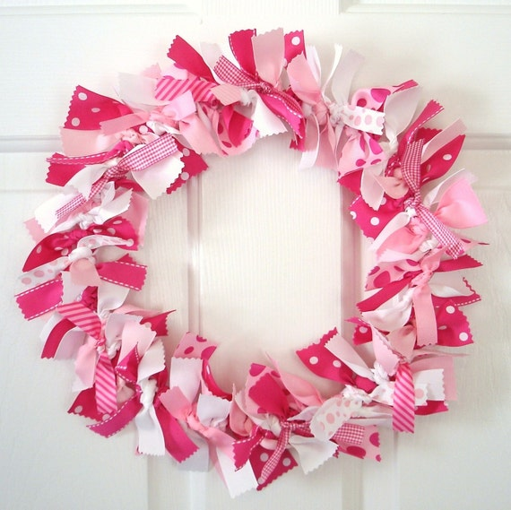 Pink and White Ribbon Wreath