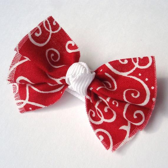 Red Hair Bow - Alligator Clip - Ruffle