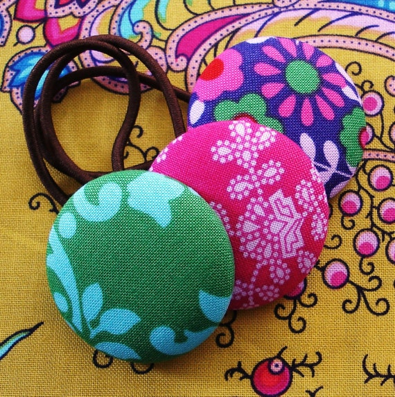 Ponytail Holders XL Buttons Crazy Love Fabric Purple Pink Green