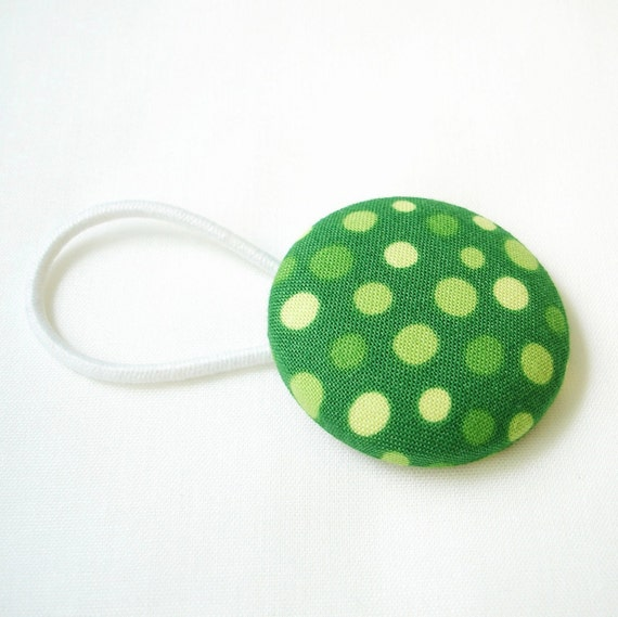 Ponytail Holder XL Polka Dot Fabric Covered Button