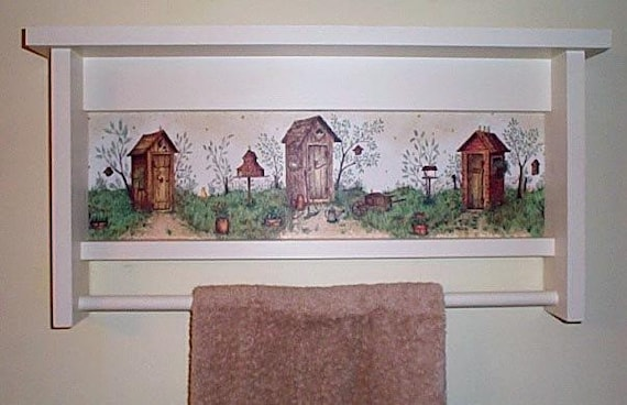 Items similar to exclusive hand crafted outhouse towel bar - Exclusive decoration of book shelf ...