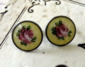 Vintage earrings in sterling and guilloche with screw backs I call Victoria Rose