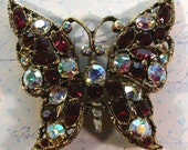 Gorgeous Ruby Red and Aurora Borealis Rhinestone Butterfly Brooch SALE