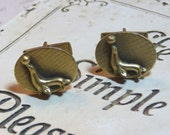 Vintage Cuff Links - Figural Seal or Sea Lion and ball - Mad Men style era