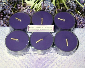 Herbal Lavender and Lemongrass PURE SOY Tea Lights (Set of 6)