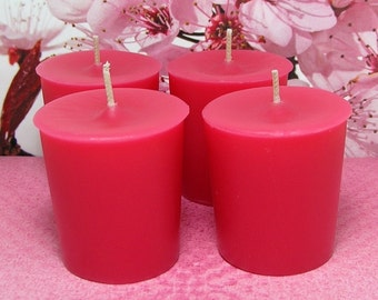 Cherry Blossom Votive Candles PURE SOY (Set of 4)