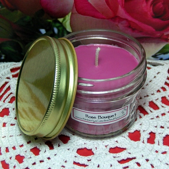 Rose Bouquet PURE SOY 4 oz. Jelly Jar Candle