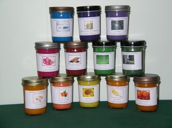 Choose Any Three -  8 oz Soy Candles -  SAVE SAVE SAVE 20.00  - Pick Your Own Scents