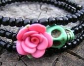 The Original Day of the Dead Wrap Around Bracelet Skull bracelet Skull jewelry mini green skull mauve flower