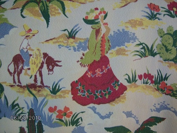 RESERVED FOR JENNI: Rare Vintage Novelty Mexican Barkcloth Fabric Drape