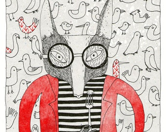 Mr. Fox and wallpaper with birds A4 print