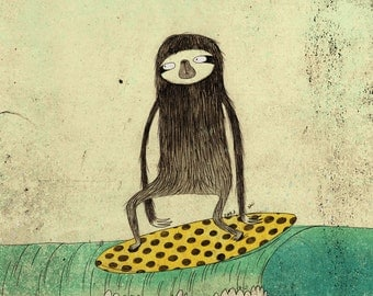 Sloth card - surfing sloth greeting card, blank with envelope