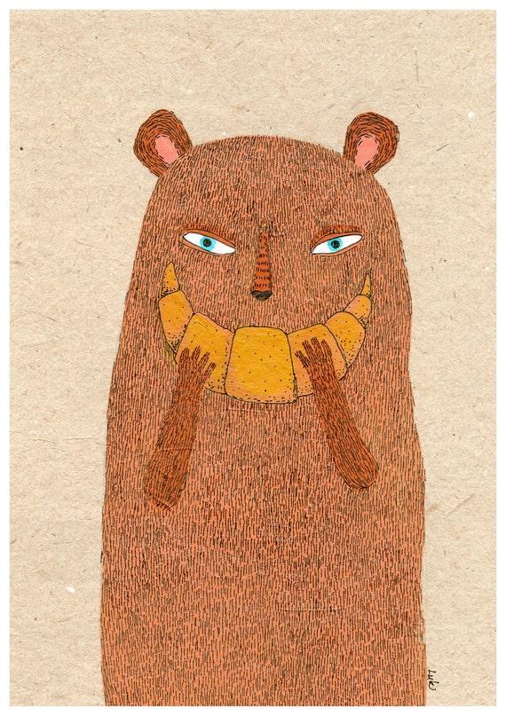 Croissant Bear A4 print