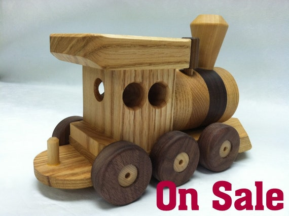 Train Set 6 Car Red  Oak Wooden  Heirloom Quality  5 Feet  long Beautifully hand finished with all natural beeswax  Sale 30 OFF