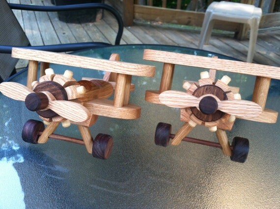 Set of 2 Airplanes Small  Bi Plane wooden toy Heirloom Quality  Oak  Beautifully  finished with all natural beeswax save 8.00 ea on 2